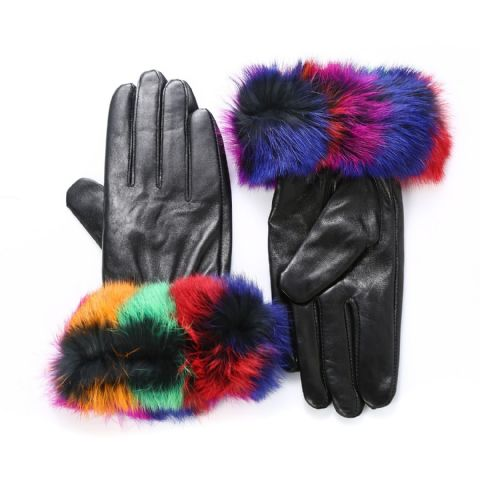Kitty Multicoloured Fur Leather Gloves